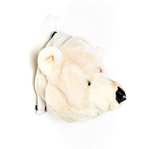Plüsch Kinder Rucksack in 3D weißer Bär 30x30 cm schön wie ein Kuscheltier mit Ledernase