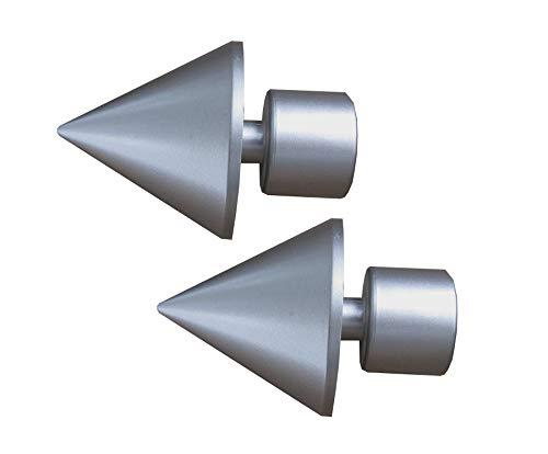 Prodecoshop Endstück Spitze passend für Gardinenstangen/Vorhangstangen Ø 28 mm, 2 Stück (Chrom matt)