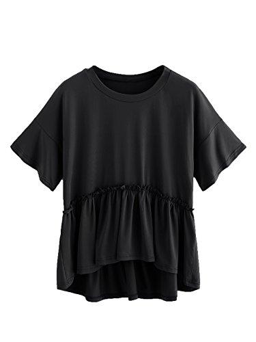 Romwe Women's Loose Ruffle Hem Short Sleeve High Low Peplum Blouse Top Black S