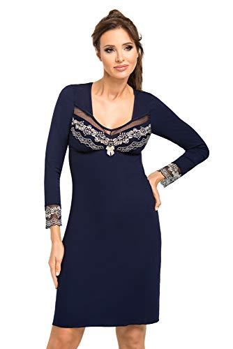 Selente Sweet Dreams Elegant nachthemd/neglige/ochtendjas (Made in EU) met prachtige topdetails en extra exclusieve satijnen oogstrip