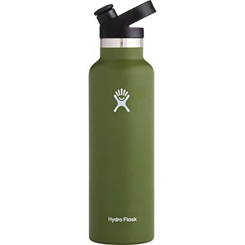 Hydro Flask Gourde isotherme 621 ml (21 oz) en acier inoxydable avec isolation sous vide et bouchon sport, goulot standard, Olive