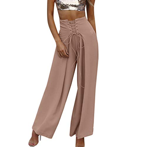WOZOW Damen Stoffhose Weites Bein Solid Crossover Riemchen Tie Tunika Slimming Swing Lose Loose Bequem High Waist Strand Beach Mode Trousers (L,Rosa)