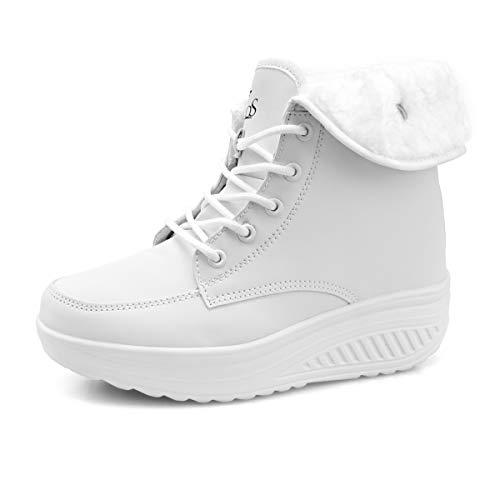 Botas De Nieve De Invierno Mujer Calientes Fur Botines Sneakers Zapatos de Plataforma de Cuña de Fitness Zapatos de Andar Impermeable Anti Deslizante Zapatos Blanco-Top (Piel Forrada) 39 EU