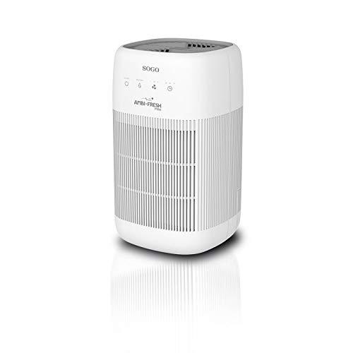 SOGO SS-21705 - Purificador de aire y deshumidificador silencioso 2 en 1 para reducir alérgenos, bacterias, virus, filtro True Hepa (99,97%) y carbón activado, color: blanco