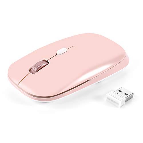 PINKCAT - Ratón inalámbrico óptico delgado de 2,4 G USB para ordenador portátil con nano receptor de diseño portátil y clic silencioso para Windows, MacBook, Linux Office (2,4 GHz-rosa)