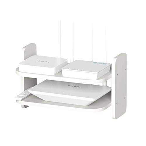 Enrutador De Madera Maciza Decodificador Wifi Estante De Almacenamiento De Pared Estante De Pared De TV Para Sala De Estar Estante De Proyector ( Color : Blanco , Size : 30*10*20cm )