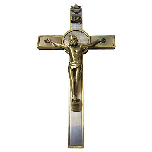 BUIDI Katholisches Kreuz Kruzifix Heiliges Wandbehang Kreuz Jesus Christus Kirche Religiöser hängender Anhänger