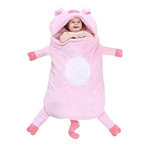 ZHSGV 2021 Nuevo Saco de Dormir Y Otoño Invierno Espesada del algodón Puro del bebé del Saco de Dormir En la Forma Animal Cochecito de niño de Relleno Manta de Cuna (Color : Pink)