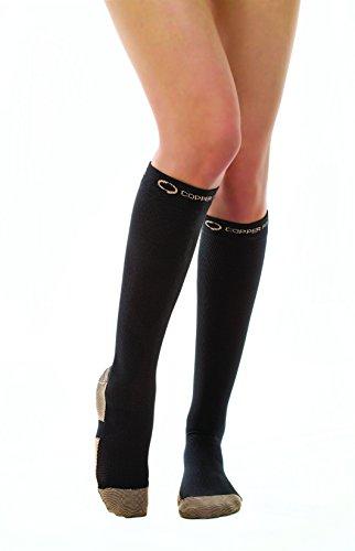 Copper Fit Energy Knee High Compression Socks, Black Large/X-Large