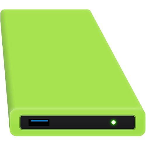HipDisk GR Externes USB 3.0 Gehäuse aus Aluminium mit austauschbarer Silikon-Schutzhülle für 2,5 Zoll Festplatten SATA HDD und SSD stoßfest wasserabweisend grün