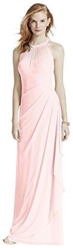 David's Bridal Long Mesh Bridesmaid Dress with Illusion Halter Neckline Style F15662, Petal, 4