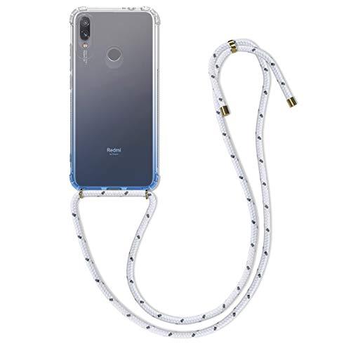 kwmobile Funda con Cuerda Compatible con Xiaomi Redmi Note 7 / Note 7 Pro - Carcasa de TPU con Colgante Bicolor Azul Claro/Transparente
