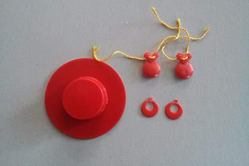 Folk Artesanía Complementos Flamenca Sombrero, Pendientes y castañuelas para muñeca Barbie o Barriguitas (Rojo)