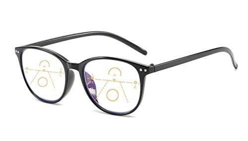 Gleitsichtbrille Lesebrille schwarz Multifokale Gläser Damen Herren Dioptrien mit Anti-Blaulicht (+2.00 Dioptrien) Computerbrille Blaulichtfilter