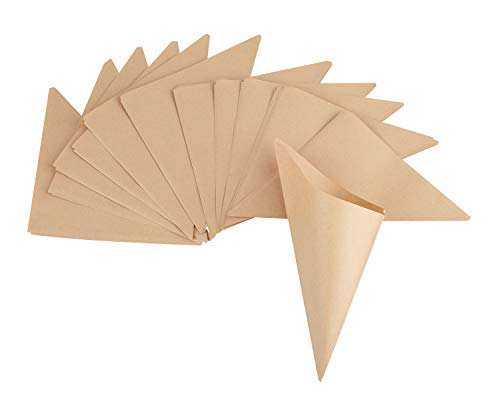 Rico Design Spitztüten 15 Stück in Braun - Candytüten lebensmittelecht 170 x 170 mm