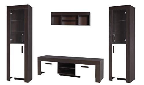 TV Wohnwand, TV-Tisch Set, Wohnzimmer-Set CEZAR Große TV-Bank, 2 freistehend Display Einheiten und wandhängende Ablagen - Milano/Cream
