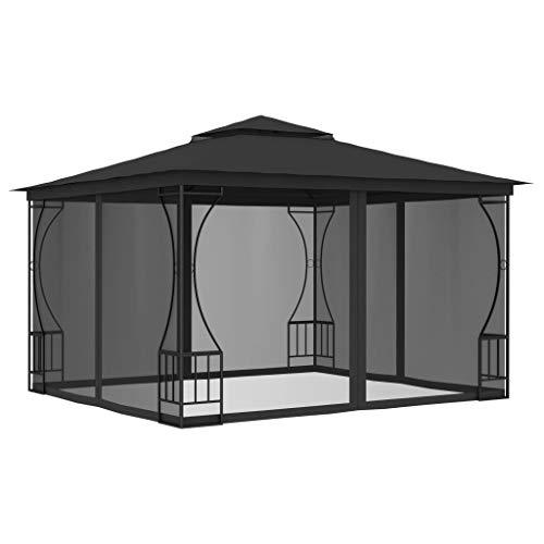 Goliraya Gazebo Tenda con Zanzariera da Giardino 3x3 m Impermeabile Protezione UV Struttura in Acciaio e 4 Tenda Poliestere Laterali Gazebo Esterno Colore Crema/Antracite