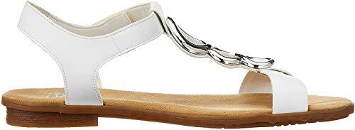 Rieker Damskie sandały 64265-80 zamknięte, biały - Bianco Ice srebrny 80-41 EU