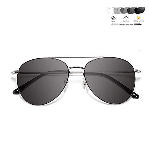HQMGLASSES 2019 Transition Sun Photochrome Lesebrille Mode Frauen Pilot Multifocal Diopter Progressive Brille Anti-Müdigkeit UV400 + 1,0 bis +3,0,Silber,+2.0