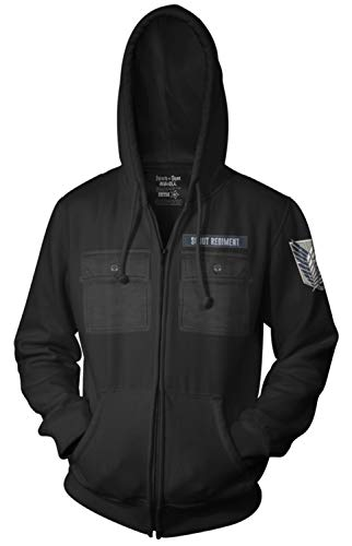 Ripple Junction Attack on Titan Adult Unisex Scout Regiment Military Style Full Zip Fleece Hoodie Medium Black
