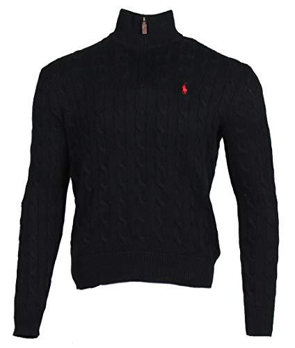 Ralph Lauren Herren Half Zip Pullover - Zopfmuster (Schwarz, L)