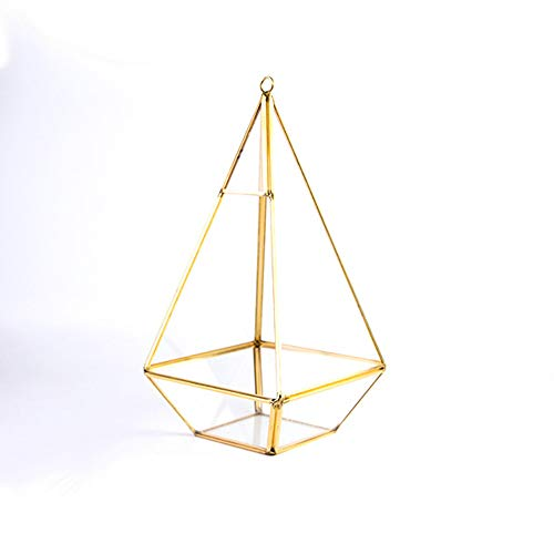 Preisvergleich Produktbild MINGZE geometrisches Terrarium,  Glas Blumentöpfe zum Aufhängen Pyramidenform Moderne Design Sukkulenten und Kakteengewächse transparent dekorativer Blumentopf (Gold Kupfer)