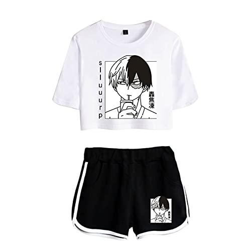 Kewing Boku No Hero Academia Todoroki Shoto Crop Top Camiseta Pantalones Cortos...