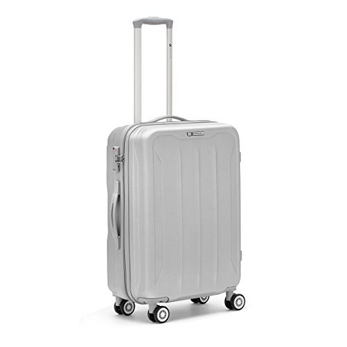 R Roncato Trolley Rigido Medio Valigia Serie Flight in ABS, 66 cm, Colore Argento