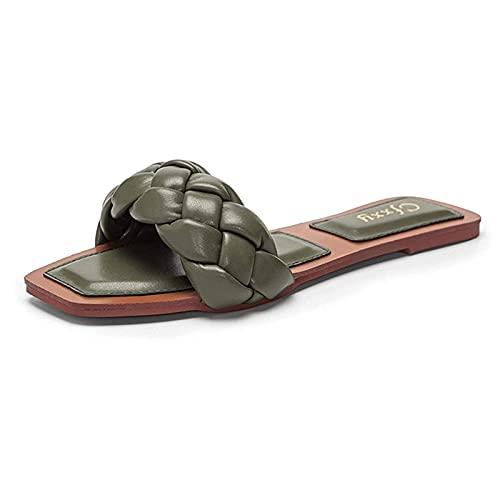 Sandalias Deslizantes para Mujer Verano Correas Trenzadas Playa Zapatos Planos Resbalón en Punta Abierta Zapatillas de Interior Al Aire Libre (Color : Green, Size : 41EU)