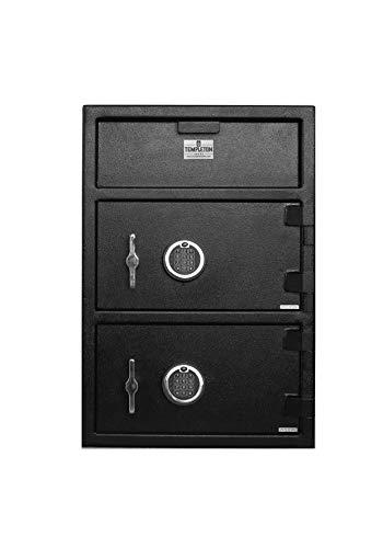 Templeton Large Depository Drop Safe & Lock Box, Electronic Multi-User Keypad Combination Lock with Key Backup, Anti Fishing Security, 3.6 CBF Black