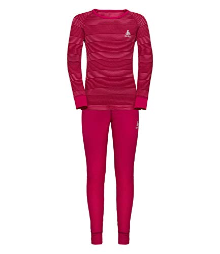 Odlo Kinder Set Active WARM Kids Bekleidungsset, Cerise-Fruit Dove-Stripes, 164