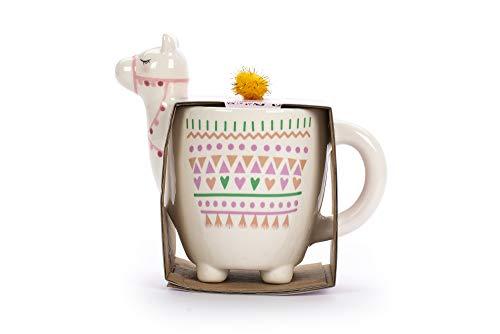 Tri-coastal Design - Taza de té/café con Tema de Animales Divertidos: Taza de Regalo de cerámica Hermosa (Pink Llama)