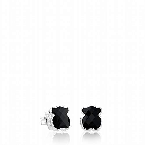 TOUS Pendientes de botón Mujer en plata de primera ley y ónix facetado, tamaño 0,9 cm