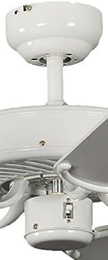 Ventilateur de plafond Potkuri de Pepeo sans éclairage, blanc laqué, pâles réversibles blanc / osier, 132 cm