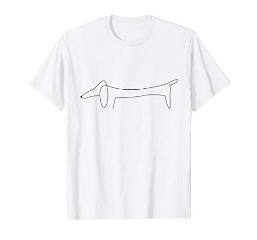 Dackel Single Line Design Hundebesitzer Herrchen Frauchen T-Shirt