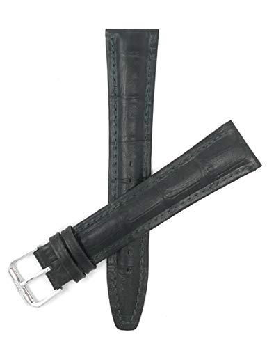 Bandini 20mm Extra lang (XL) Uhrenband, Italienisches Lederarmband Ersatzband - Dunkelgrün - Gepolstert - Alligator-Muster