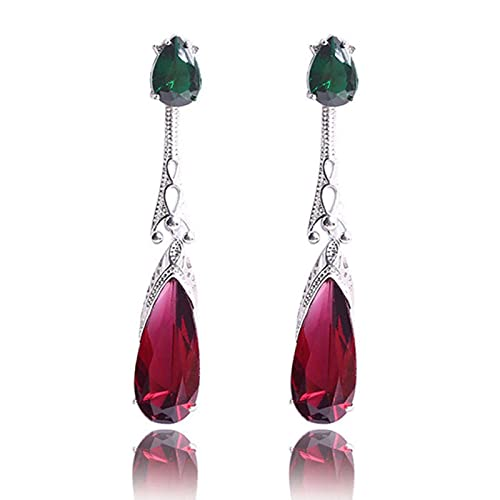 DOOLY Pendientes de circonita en Forma de lágrima Verde púrpura, joyería de Boda de Moda, Pendiente Largo de Piedra de Cristal en Piezas para Mujer