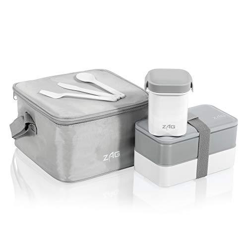 Lunch box Bento japonaise isotherme et anti-fuite en plastique avec 2 compartiments - Parfaite pour soupe et nourriture - Sans BPA - Passe au micro-ondes - Couverts inclus gris
