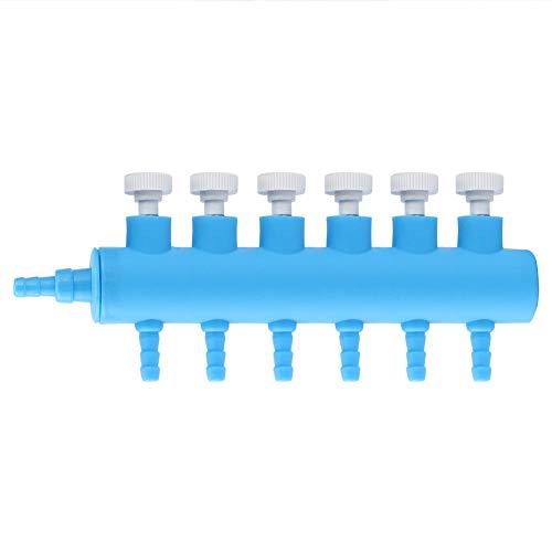 Acuario Divisor de flujo de aire Tanque de peces Válvula de control de aire de plástico Acuario Distribuidor de oxígeno Tanque de peces Accesorios de bomba de aire (6 vías 1 piezas)