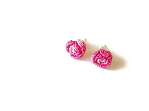 Pendientes rosas bicolor rosas postes joyería regalo de la flor para su ganchillo hecho a mano