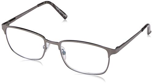 Foster Grant Men's Braydon Multifocus Rectangular Reading Glasses, Gunmetal/Transparent, 54 mm + 1.5