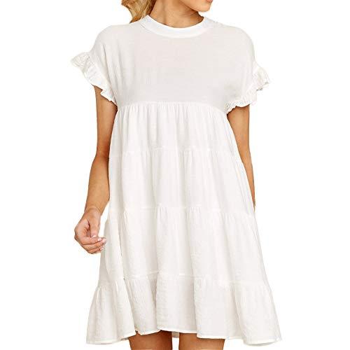 Joteisy Women's O Neck Ruffle Short Sleeve Tiered Casual Mini Dress (L, White)