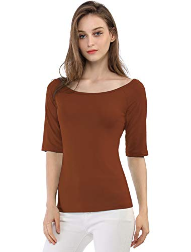 Allegra K Camiseta Medias Mangas con Cuello Redondo Ajustado Blusa para Mujer Marrón L