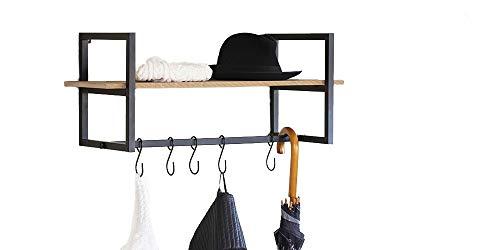 LIFA LIVING Schwarze Wandgarderobe aus Metall und MDF Holz, Vintage Garderobenleiste für die Wand mit Ablage und 5 Haken, Garderobe, 28 x 70 x 29 cm