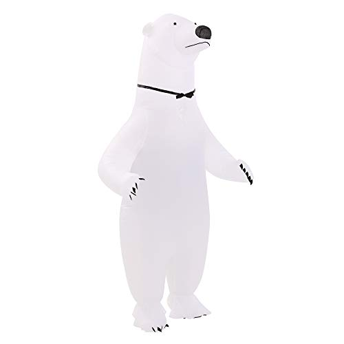 HHARTS Adult White Polar Bear Inflatable Costume Blow up Costume Fancy Dress Costume for Halloween Cosplay Party Christmas, Medium
