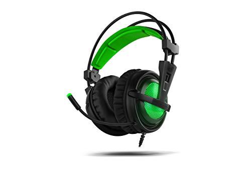 BG Xonar-X6 Binaural Diadema Negro, Verde - Auriculares con micrófono (Consola de Videojuegos + PC/Videojuegos, Binaural, Diadema, Negro, Verde, Verde, Imitación Piel)