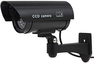 Cámara de seguridad falsa para exteriores con luces LED cámara falsa de CCTV + señales de CCTV gratuitas para exteriores negro 4 unidades