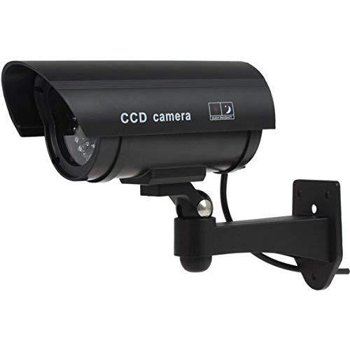 Cámara de seguridad para exteriores falsa cámara CCTV con luces LED intermitentes, cámara de seguridad falsa CCTV + señales de CCTV gratis al aire libre - señuelo CCTV cámara al aire libre