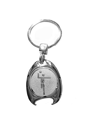Handball Motiv Schlüsselanhänger, silberfarben, in eleganter Geschenkbox mit Einkaufswagenchip und Flaschenöffner | Geschenk | Männer | Frauen | Sport | Chip | Einkaufschip | Öffner