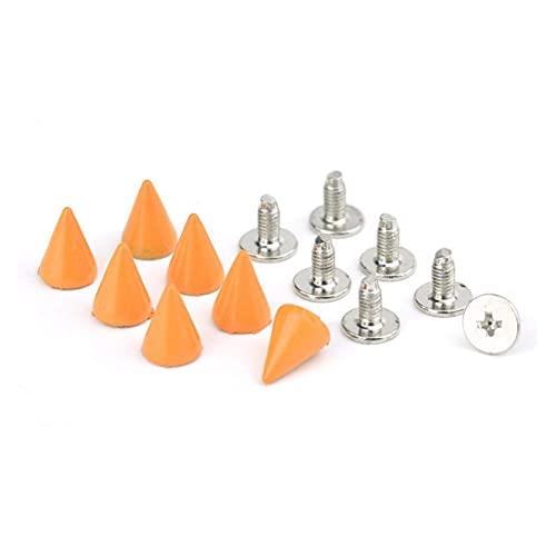 Remaches de metal, 100 unids Cono Rivet Tornillo Punk Stud Stud Lackcraft Bullet Spikes DIY Craft Supplies Ropa Joyería Accesorios para decoración de reparaciones artesanales (Color : Orange)